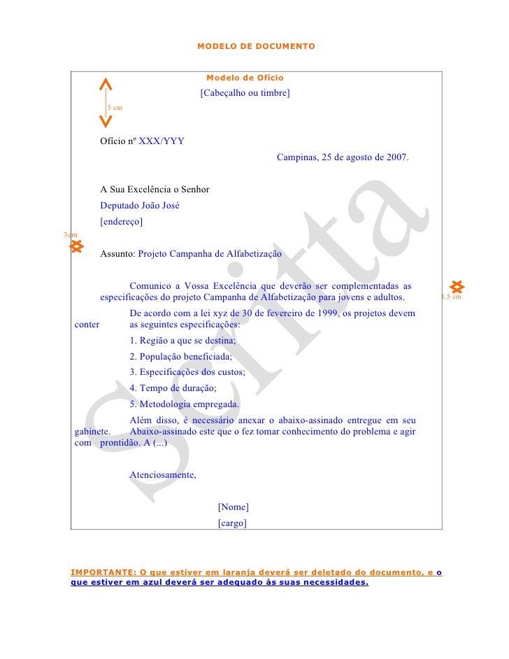 MODELO DE DOCUMENTO                                         Modelo de Ofício                                      [Cabeçal...