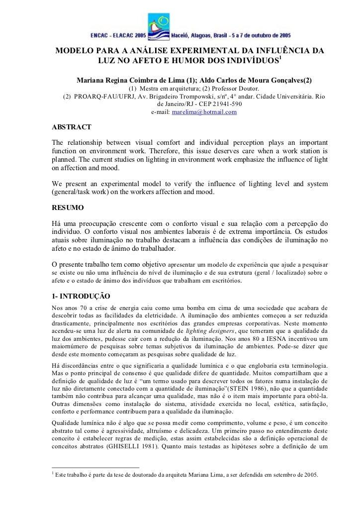 MODELO PARA A ANÁLISE EXPERIMENTAL DA INFLUÊNCIA DA           LUZ NO AFETO E HUMOR DOS INDIVÍDUOS1            Mariana Regi...