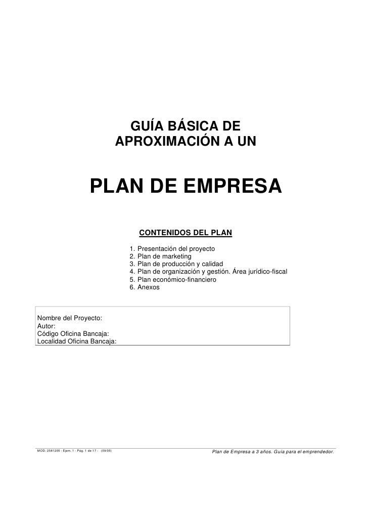 GUÍA BÁSICA DE                                                  APROXIMACIÓN A UN                                 PLAN DE ...