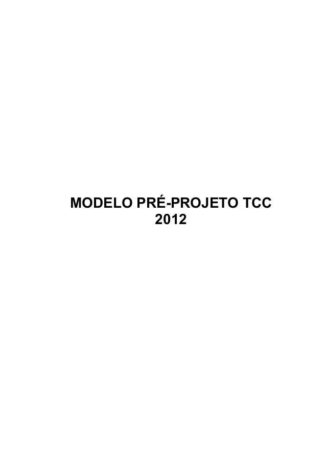 1 MODELO PRÉ-PROJETO TCC 2012