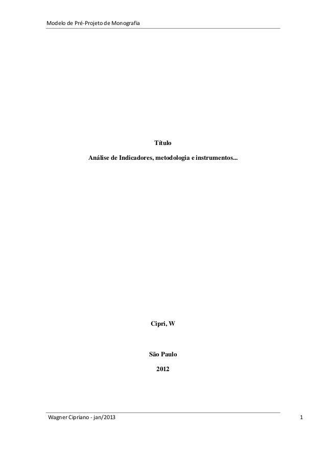 Modelo pré-projeto de monografia