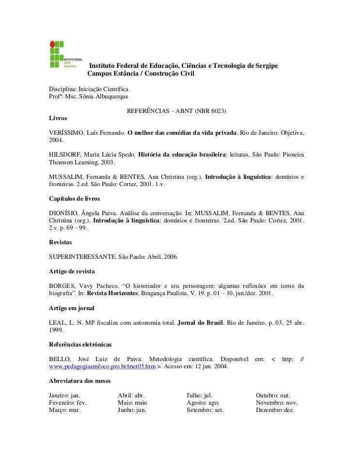 Instituto Federal de Educação, Ciências e Tecnologia de Sergipe<br />                      Campus Estância / Construçã...