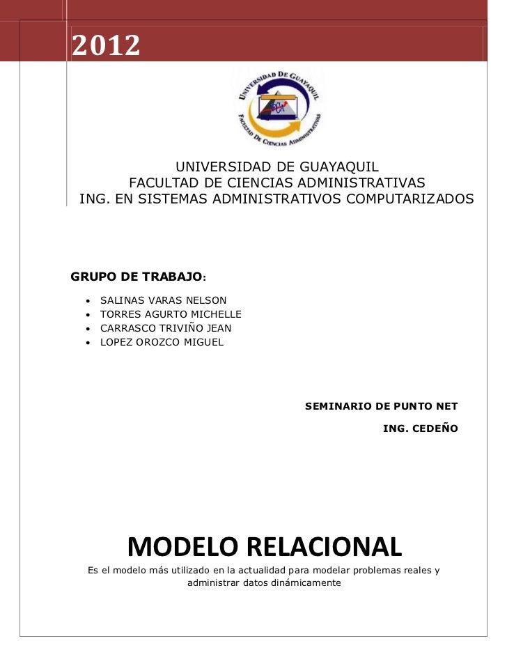 2012              UNIVERSIDAD DE GUAYAQUIL        FACULTAD DE CIENCIAS ADMINISTRATIVAS ING. EN SISTEMAS ADMINISTRATIVOS CO...