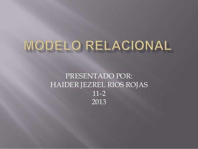 PRESENTADO POR:HAIDER JEZREL RIOS ROJAS11-22013