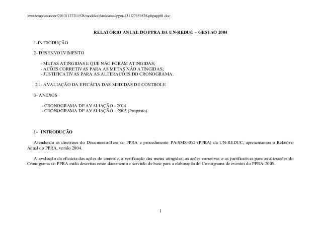 /mnt/temp/unoconv/20131127211528/modelorelatrioanualppra-131127151528-phpapp01.doc  RELATÓRIO ANUAL DO PPRA DA UN-REDUC – ...