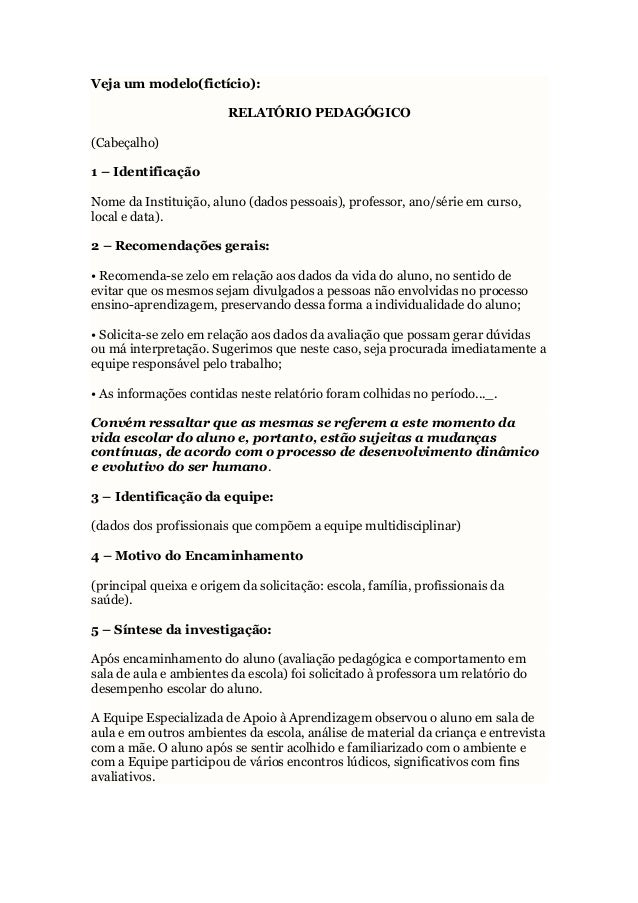 Modelo relatório pedagogico aluno especial