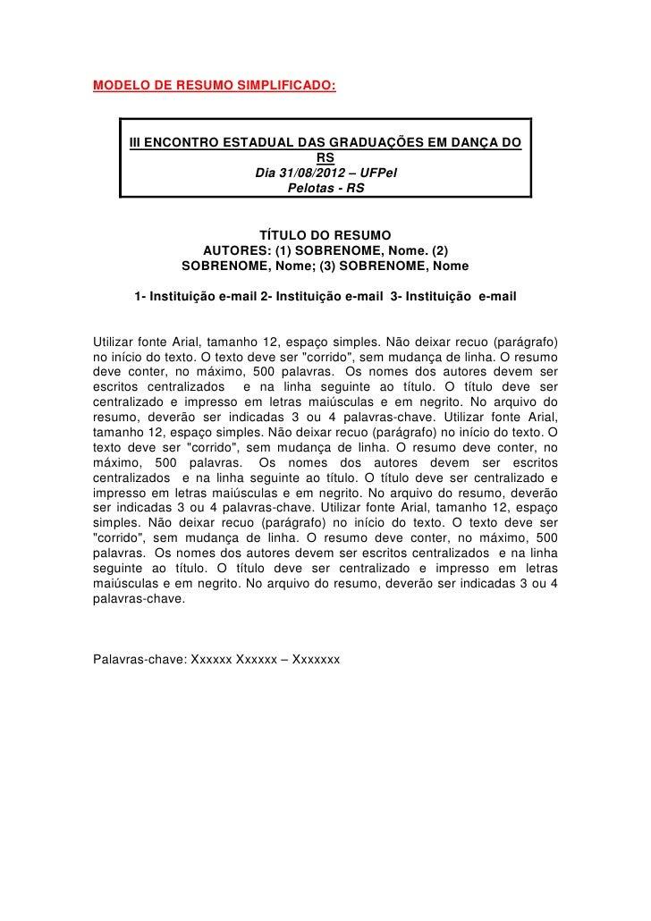 MODELO DE RESUMO SIMPLIFICADO:      III ENCONTRO ESTADUAL DAS GRADUAÇÕES EM DANÇA DO                                 RS   ...