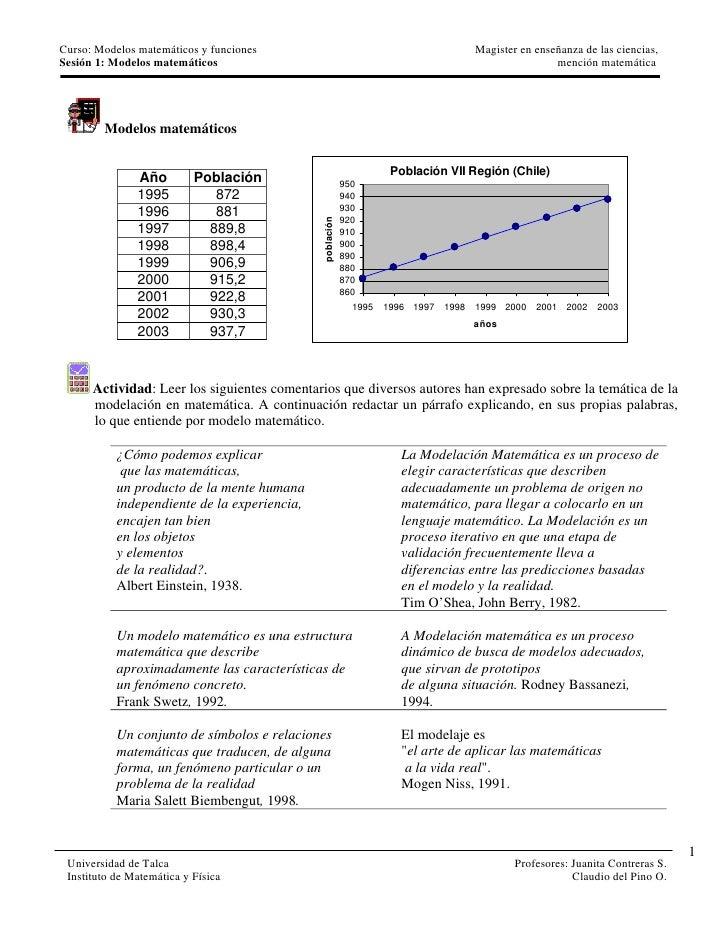 Curso: Modelos matemáticos y funciones                                          Magister en enseñanza de las ciencias,Sesi...