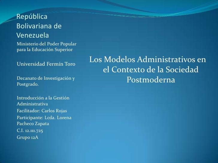 RepúblicaBolivariana deVenezuelaMinisterio del Poder Popularpara la Educación SuperiorUniversidad Fermín Toro             ...
