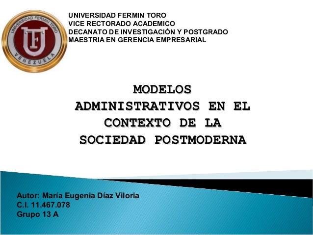 UNIVERSIDAD FERMIN TORO             VICE RECTORADO ACADEMICO             DECANATO DE INVESTIGACIÓN Y POSTGRADO            ...