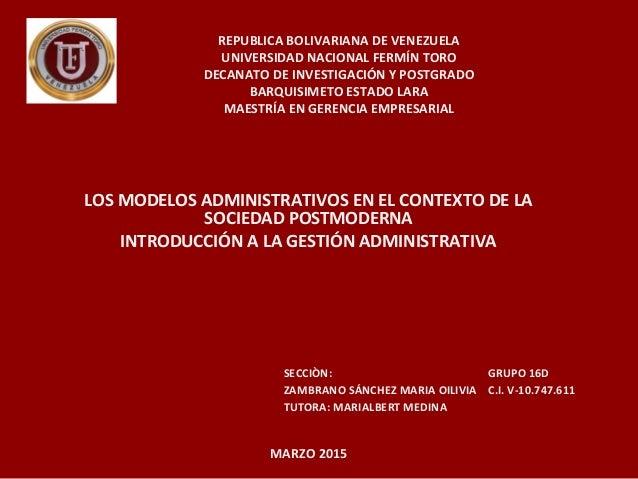 REPUBLICA BOLIVARIANA DE VENEZUELA UNIVERSIDAD NACIONAL FERMÍN TORO DECANATO DE INVESTIGACIÓN Y POSTGRADO BARQUISIMETO EST...
