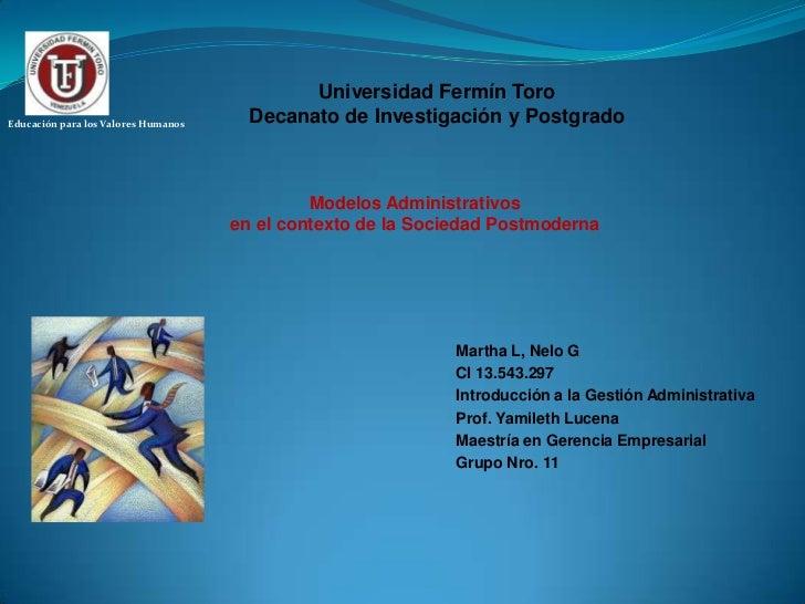 Universidad Fermín Toro<br />Decanato de Investigación y Postgrado<br />Educación para los Valores Humanos<br />Modelos Ad...