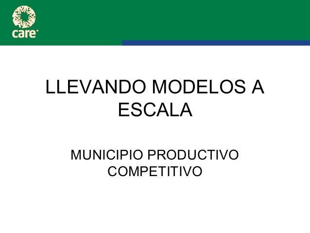 LLEVANDO MODELOS A      ESCALA  MUNICIPIO PRODUCTIVO      COMPETITIVO