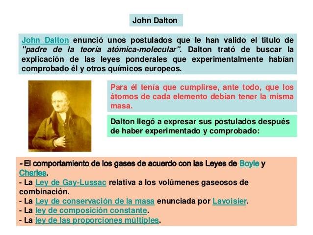 """John Dalton John Dalton enunció unos postulados que le han valido el titulo de """"padre de la teoría atómica-molecular"""". Dal..."""