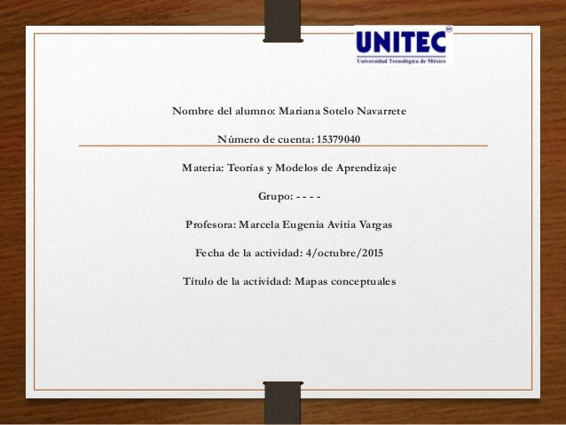 Nombre del alumno: Mariana Sotelo Navarrete Número de cuenta: 15379040 Materia: Teorías y Modelos de Aprendizaje Grupo: - ...