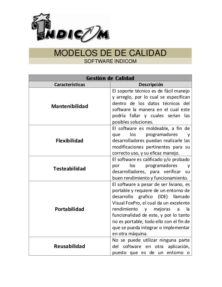 MODELOS DE DE CALIDAD SOFTWARE INDICOM<br />Gestión de CalidadCaracterísticasDescripciónMantenibilidadEl soporte técnico e...