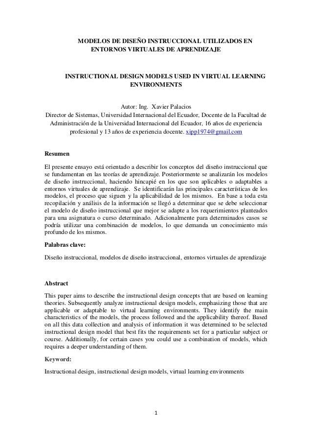 1MODELOS DE DISEÑO INSTRUCCIONAL UTILIZADOS ENENTORNOS VIRTUALES DE APRENDIZAJEINSTRUCTIONAL DESIGN MODELS USED IN VIRTUAL...