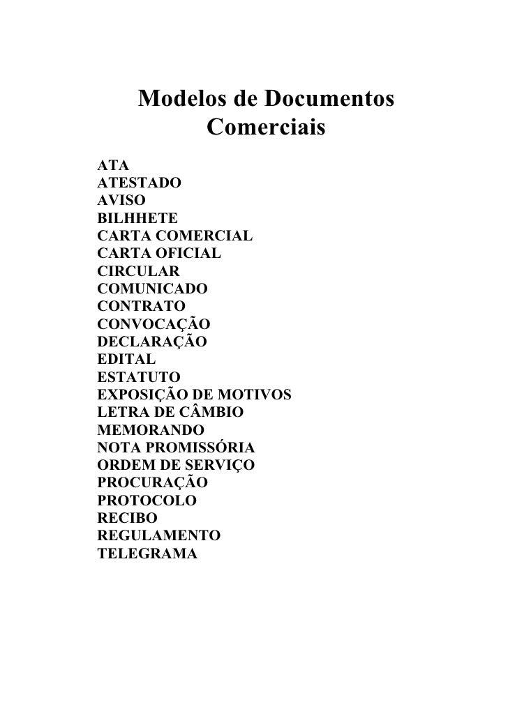 Modelos de Documentos         ComerciaisATAATESTADOAVISOBILHHETECARTA COMERCIALCARTA OFICIALCIRCULARCOMUNICADOCONTRATOCONV...