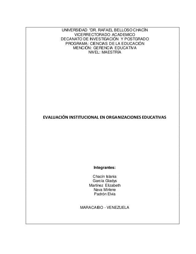 """UNIVERSIDAD """"DR. RAFAEL BELLOSO CHACÍN VICERRECTORADO ACADEMICO DECANATO DE INVESTIGACIÓN Y POSTGRADO PROGRAMA: CIENCIAS D..."""