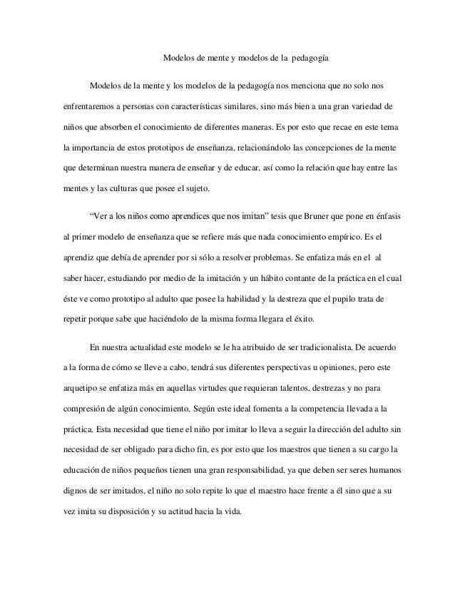 Modelos de mente y modelos de la pedagogia. conclusion