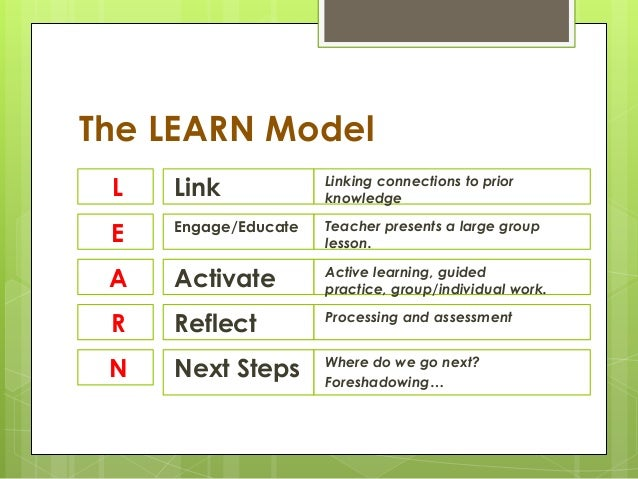 The Learn And Backwards Design Model