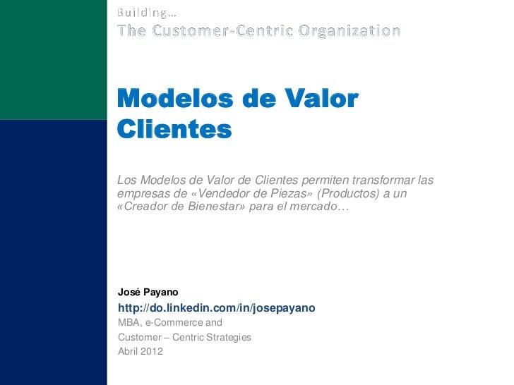 Modelos de ValorClientesLos Modelos de Valor de Clientes permiten transformar lasempresas de «Vendedor de Piezas» (Product...