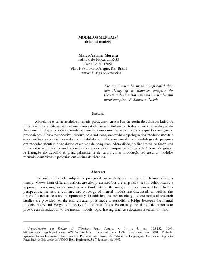 Modelos mentais by Marco Antônio Moreira