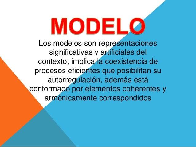 Los modelos son representaciones significativas y artificiales del contexto, implica la coexistencia de procesos eficiente...
