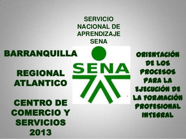 SERVICIO NACIONAL DE APRENDIZAJE SENA ORIENTACIÓN DE LOS PROCESOS PARA LA EJECUCIÓN DE LA FORMACIÓN PROFESIONAL INTEGRAL B...