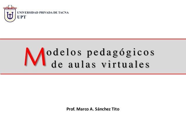 o d elo s p ed ag ó g ico s d e au las v irtu ales Prof. Marco A. Sánchez Tito M