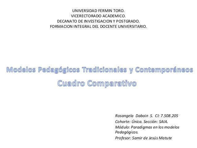 UNIVERSIDAD FERMIN TORO.         VICERECTORADO ACADEMICO.   DECANATO DE INVESTIGACION Y POSTGRADO.FORMACION INTEGRAL DEL D...