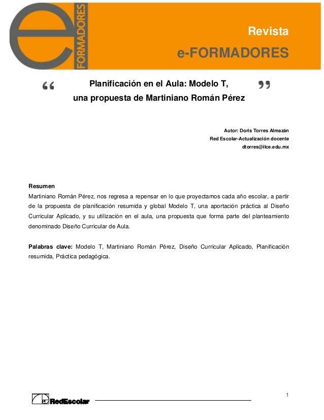 Revista                                                       e-FORMADORES                      Planificación en el Aula: ...