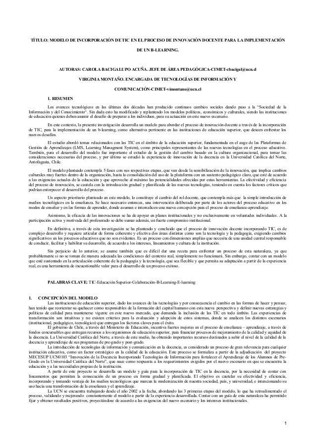 TÍTULO: MODELO DE INCORPORACIÓN DE TIC EN EL PROCESO DE INNOVACIÓN DOCENTE PARA LA IMPLEMENTACIÓN DE UN B-LEARNING. AUTORA...