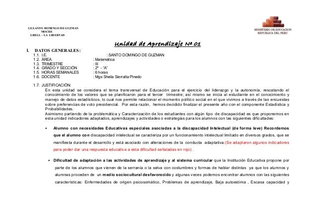 I.E.SANTO DOMINGO DE GUZMAN MOCHE GRELL - LA LIBERTAD Unidad de Aprendizaje Nº 01 I. DATOS GENERALES: 1.1. I.E. : SANTO DO...