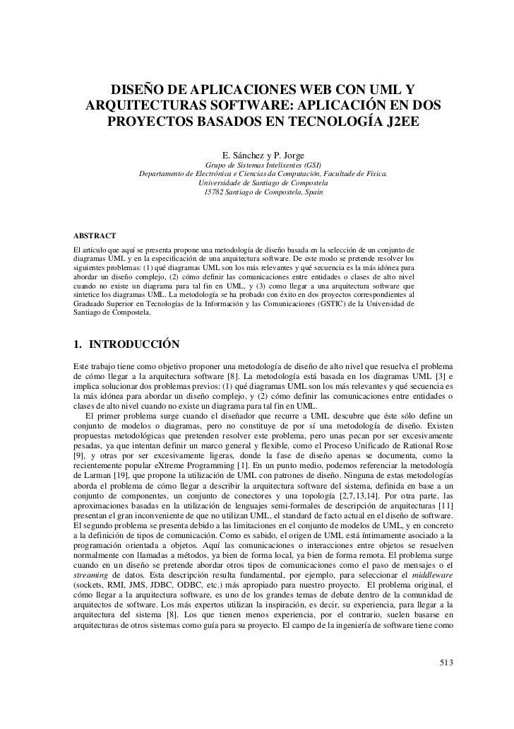 DISEÑO DE APLICACIONES WEB CON UML Y   ARQUITECTURAS SOFTWARE: APLICACIÓN EN DOS     PROYECTOS BASADOS EN TECNOLOGÍA J2EE ...