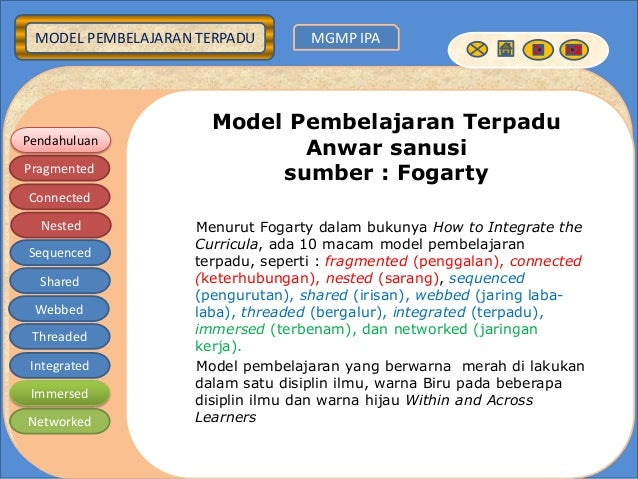MODEL PEMBELAJARAN TERPADU MGMP IPA Pendahuluan Pragmented Connected Nested Sequenced Shared Webbed Threaded Integrated Im...