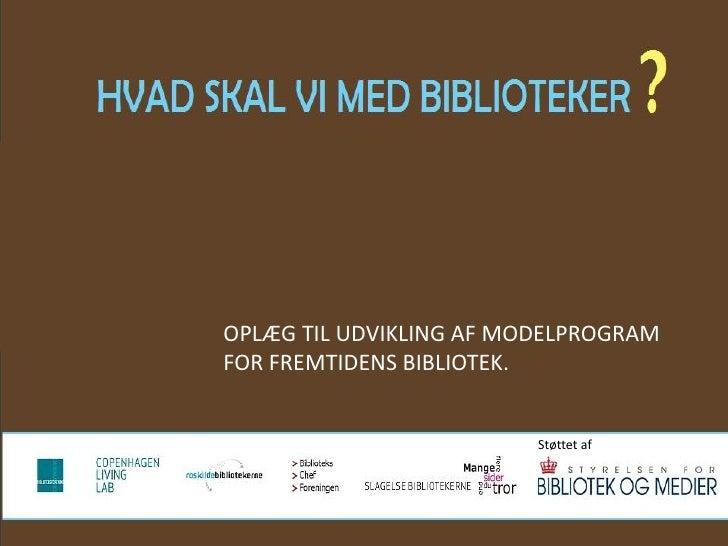 Modelprogram   hvad skal vi med biblioteker ?