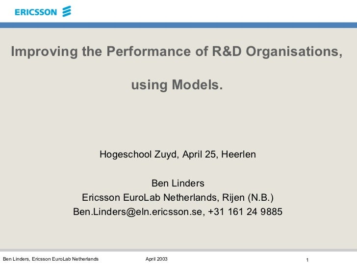 Improving the Performance of R&D Organisations,                                                  using Models.            ...