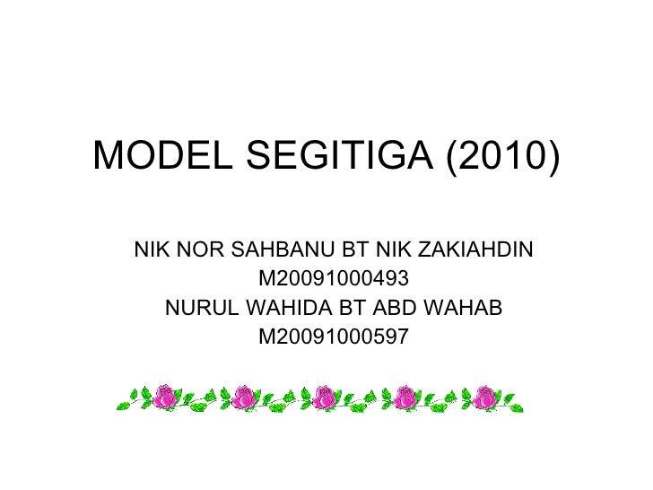MODEL SEGITIGA (2010) NIK NOR SAHBANU BT NIK ZAKIAHDIN M20091000493 NURUL WAHIDA BT ABD WAHAB M20091000597