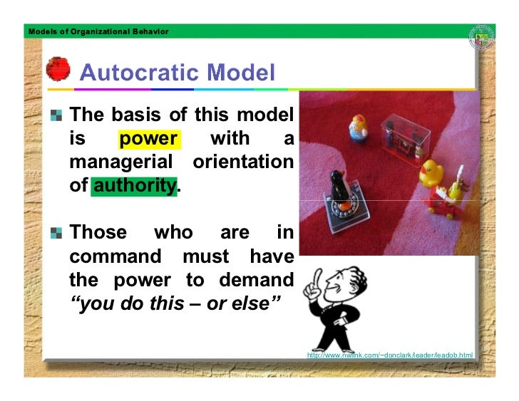 in the autocratic organizational model the basis is power with a managerial orientation of authority Models of organizational models of organizational behavior the basis of this model is power with a managerial orientation of authority those who are.