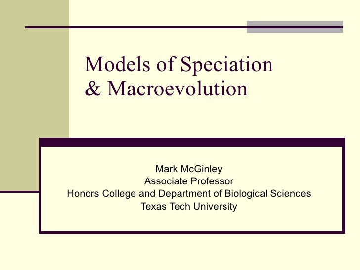 Models of Speciation & Macroevolution Mark McGinley Associate Professor Honors College and Department of Biological Scienc...