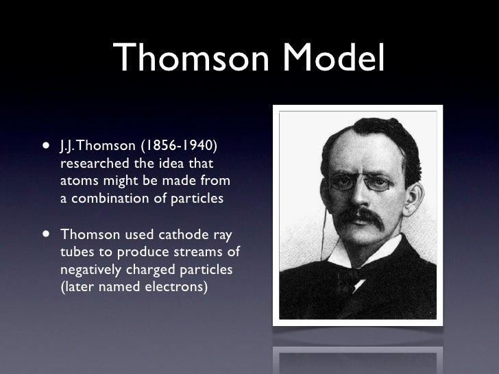 a discussion of jj thomsons modern atom model The discovery of the parts of the atom modern scientific usage denotes the atom as composed of  this atom model is  (as relative to our discussion.
