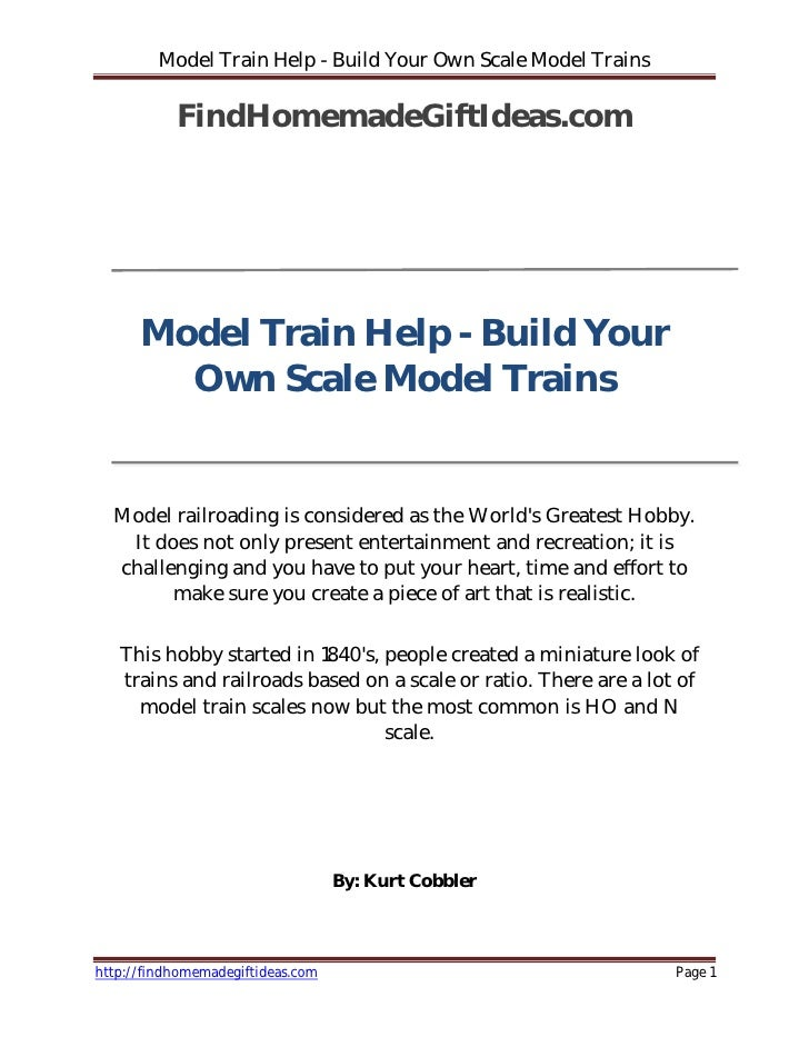Model Train Help - Build Your Own Scale Model Trains             FindHomemadeGiftIdeas.com           Model Train Help - Bu...