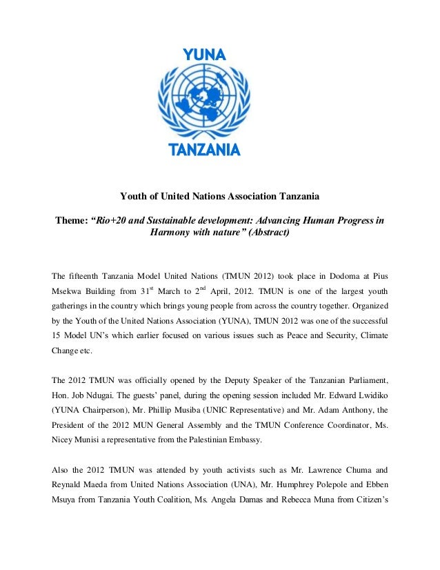 """Youth of United Nations Association TanzaniaTheme: """"Rio+20 and Sustainable development: Advancing Human Progress in       ..."""