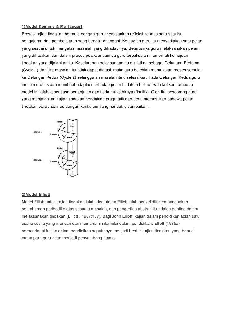 1)Model Kemmis & Mc TaggartProses kajian tindakan bermula dengan guru menjalankan refleksi ke atas satu-satu isu pengajara...