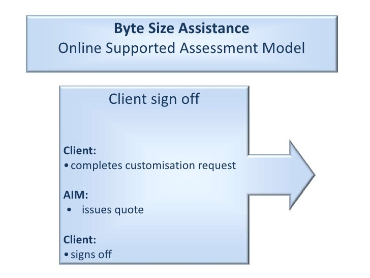 Byte Size Assistance<br />Online Supported Assessment Model<br />Client sign off<br />Client:<br />•	completes customisati...