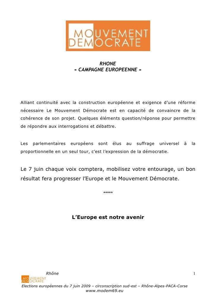Modem campagne européenne   vade-mecum - version 6.05.09