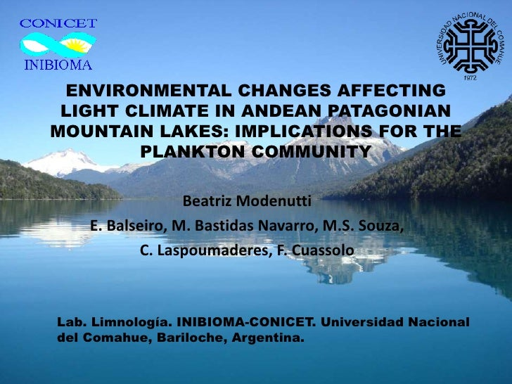 ENVIRONMENTAL CHANGES AFFECTING LIGHT CLIMATE IN ANDEAN PATAGONIANMOUNTAIN LAKES: IMPLICATIONS FOR THE        PLANKTON COM...