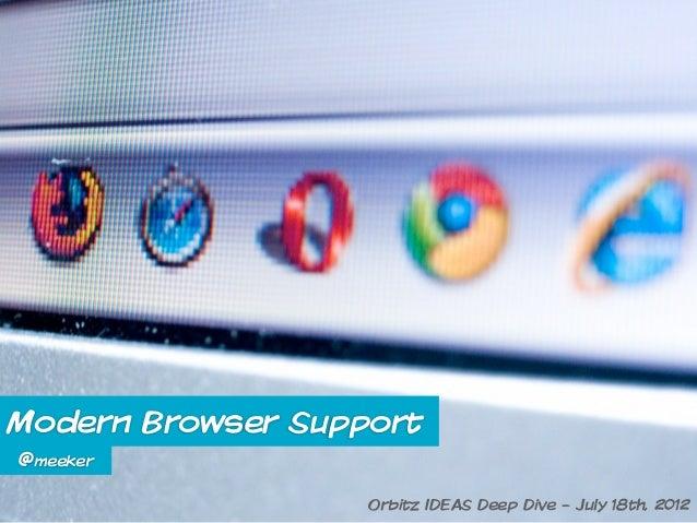 Modern Browser Support@meeker                   Orbitz IDEAS Deep Dive - July 18th, 2012