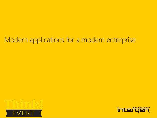 Modern applications for a modern enterprise
